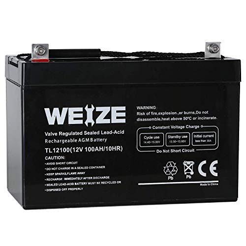 Weize 12v 100ah Deep Cycle Agm Sla Vrla Battery For Solar System Rv Camping Trolling Motor  In